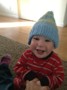 I put winter clothes away in June. This hat was made by Kierran's great Aunt Kris.