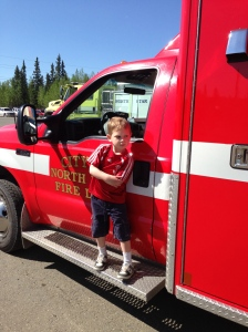 Fire Department Open House. Merrick is doing his paramedic pose.