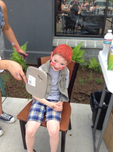 Barrett got his hair did! We thought he made himself to look like Raggedy Andy